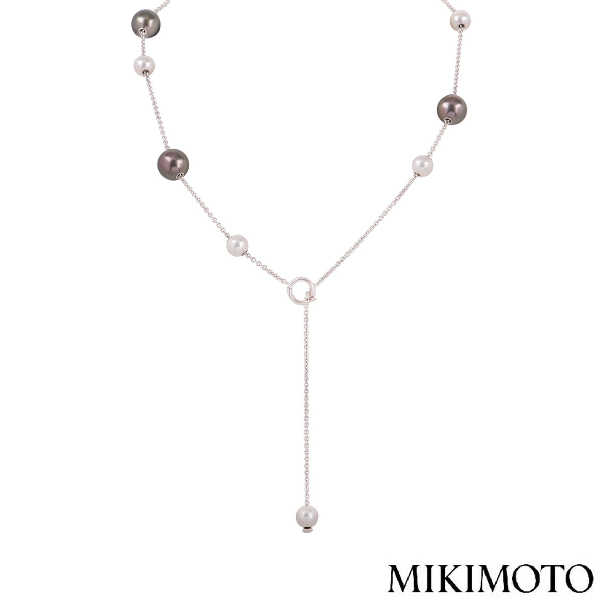 Mikimoto White And Grey Pearl Necklace